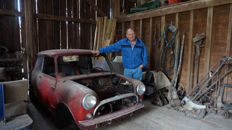 Jack Baumgardner in his barn with the Cooper S