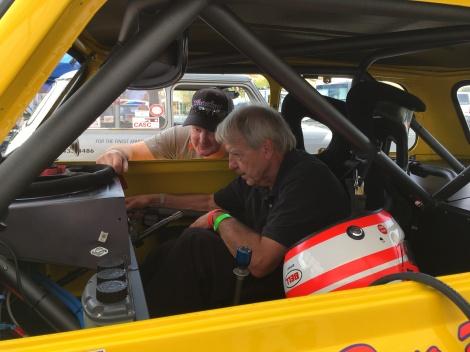 Andy & Don discuss car setup. Photo credit: Greg Birch