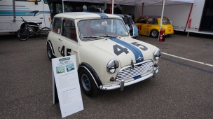 The John Colgate Mini hangin' with the race cars. Thanks John Hedeen for bringing this special car to display!